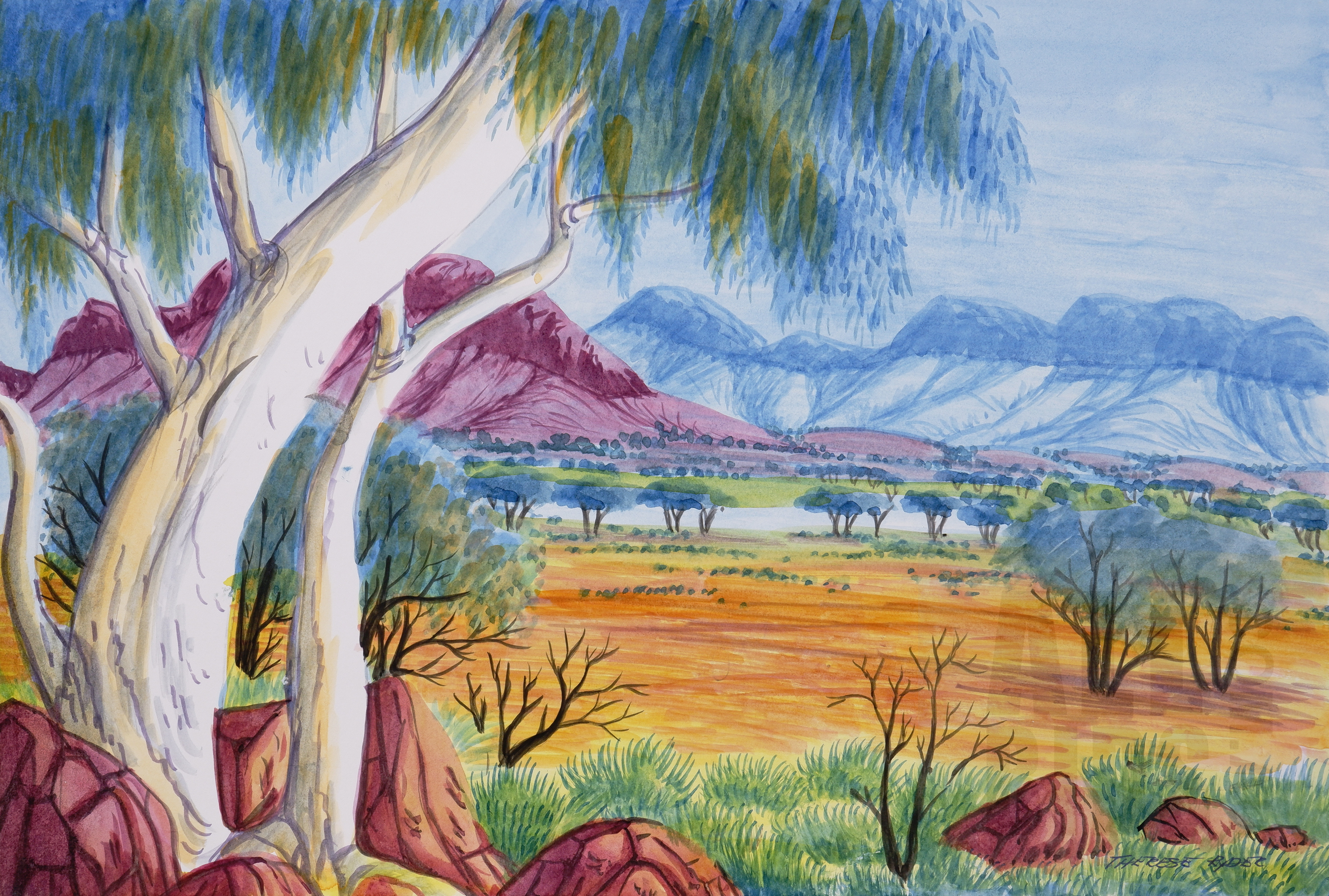 'Therese Ryder (born 1954, Arrernte language group), West MacDonnell Ranges 2010, Watercolour, 26 x 38 cm'