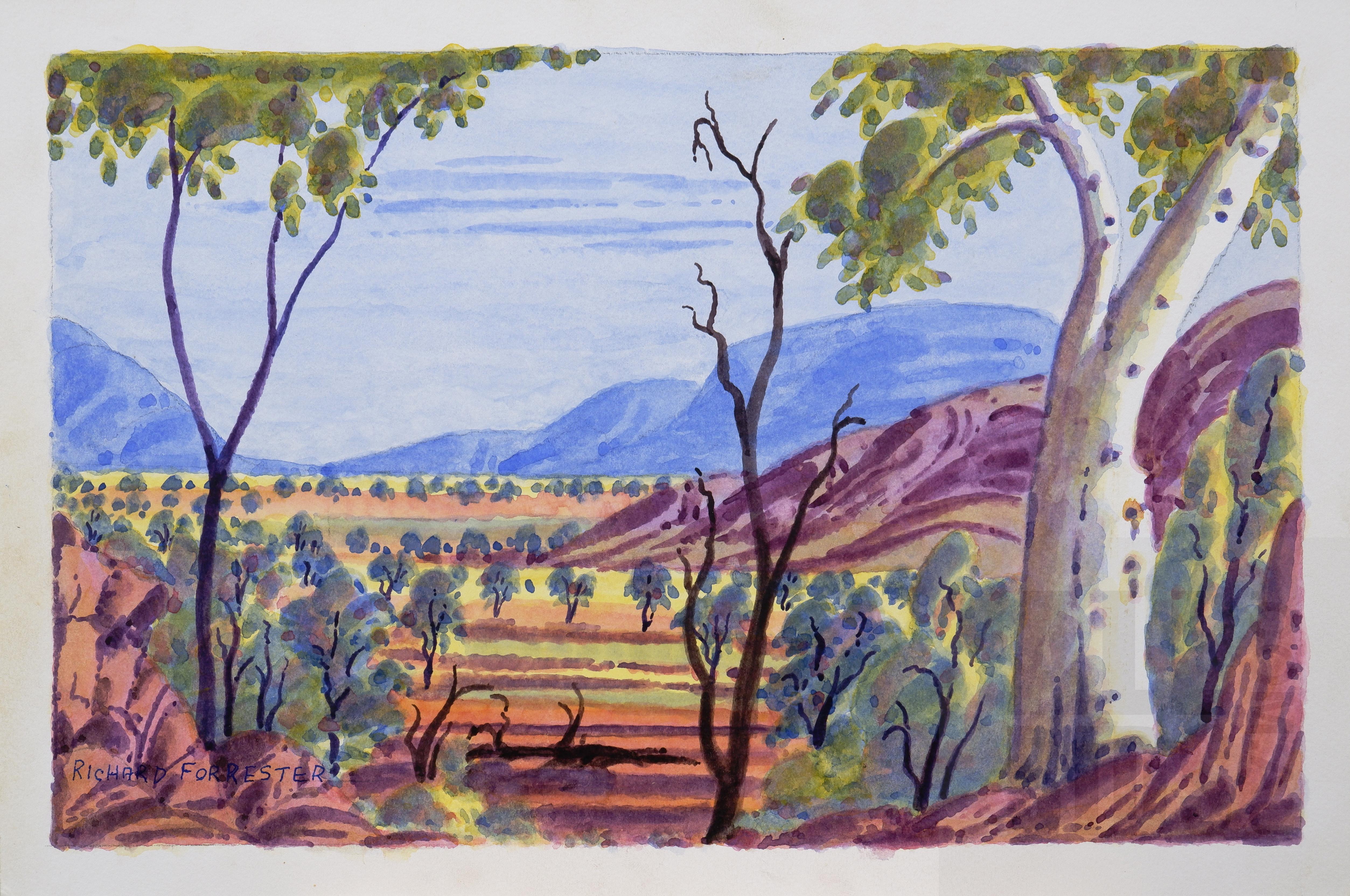 'Richard Forrester (Arrernte language group), Untitled (Central Australian Landscape), Watercolour, 25 x 38 cm'