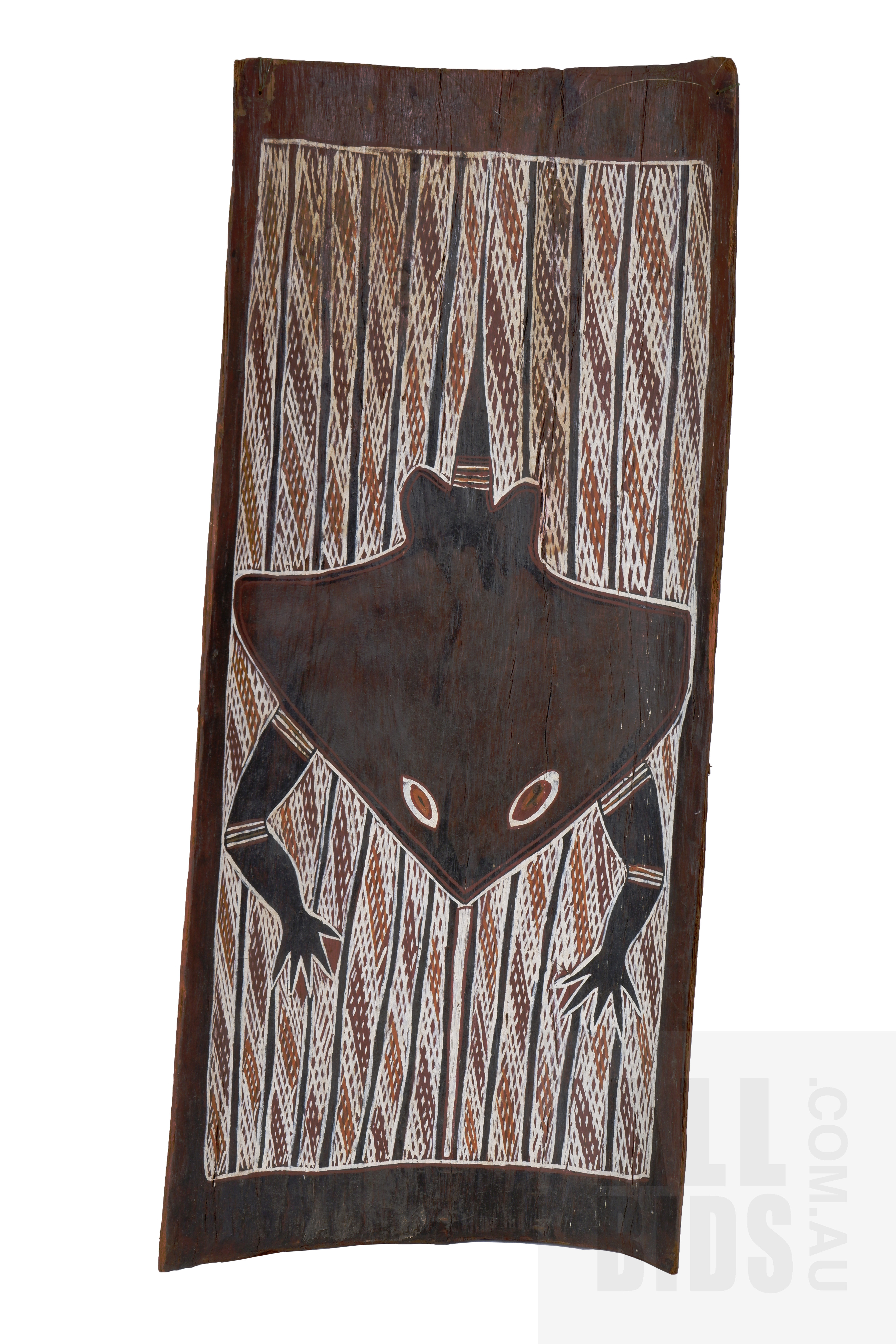 'A Bark Painting from Groote Eylandt Depicting a Stingray, Natural Earth Pigments on Eucalyptus Bark, 70 x 30 cm'