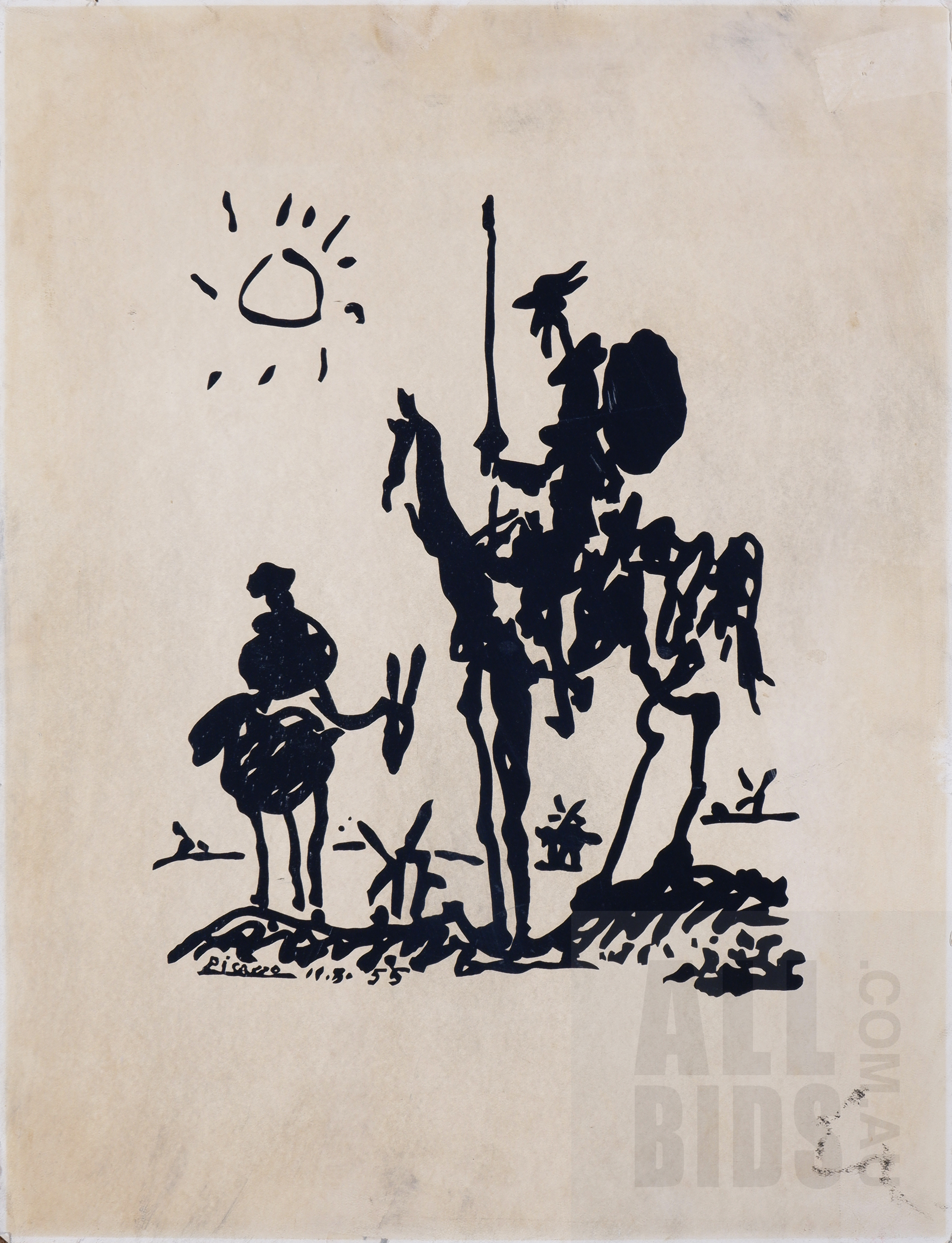 'Pablo Picasso (1881-1973, Spanish), Don Quixote 1955, Lithograph, 66 x 50 cm (sheet size)'