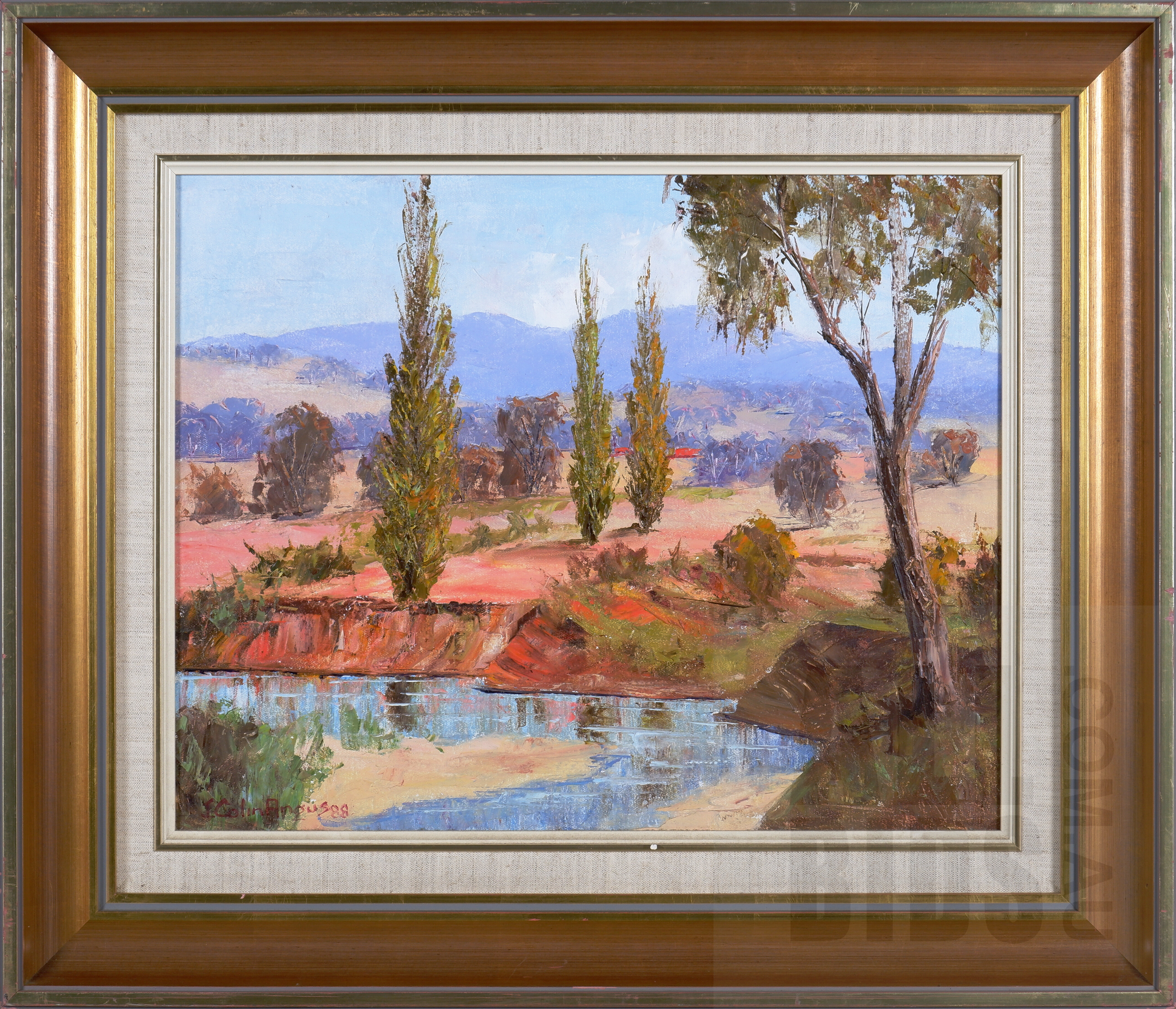 'John Colin Angus (1907-2002), Old Goldfield 1988, Allans Flat, Oil on Canvas on Board, 39 x 49 cm'