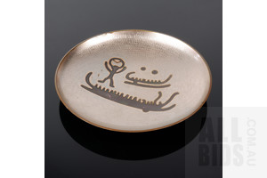 David Andersen Norway Chased and Enamelled Heavy Copper Small Wall Hung Display Dish, Diameter 15cm