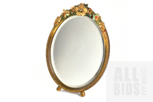 Art Deco Moulded Gesso and Polychrome Painted Easel Back Mirror with Bevelled Edge, Height 30cm, Small Loss to Crest