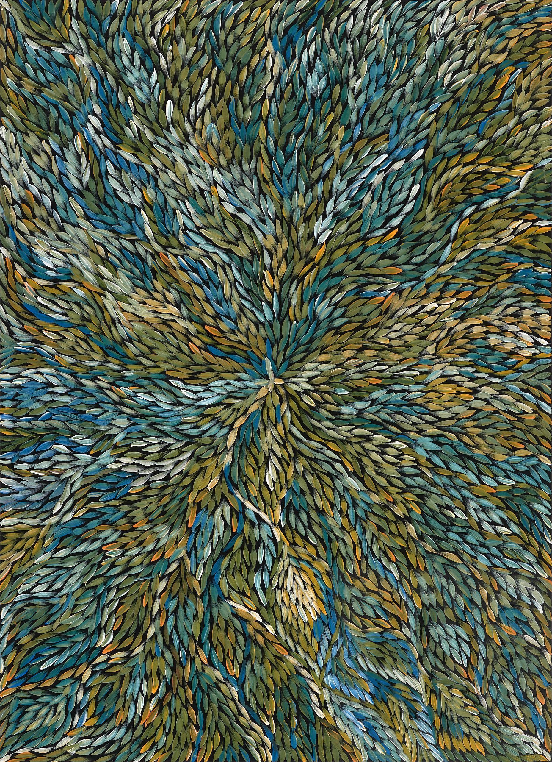 'Jeannie (Pitjara) Petyarre (born c1956), Yam Leaf Dreaming, Acrylic on Canvas, 133 x 96 cm'