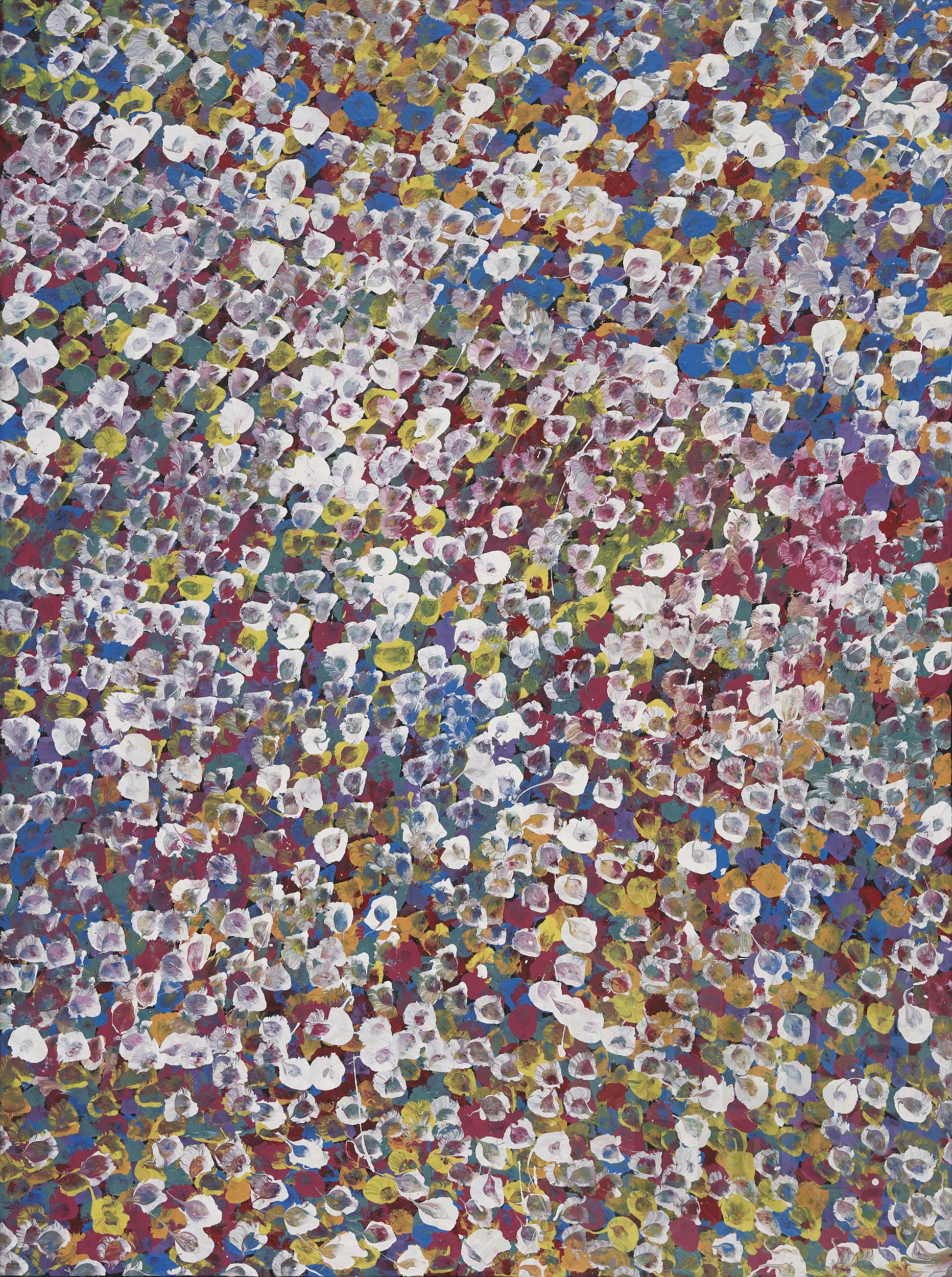 'Bessie Pitjara (born 1960), Bush Plum, Acrylic on Canvas, 94 x 70 cm'