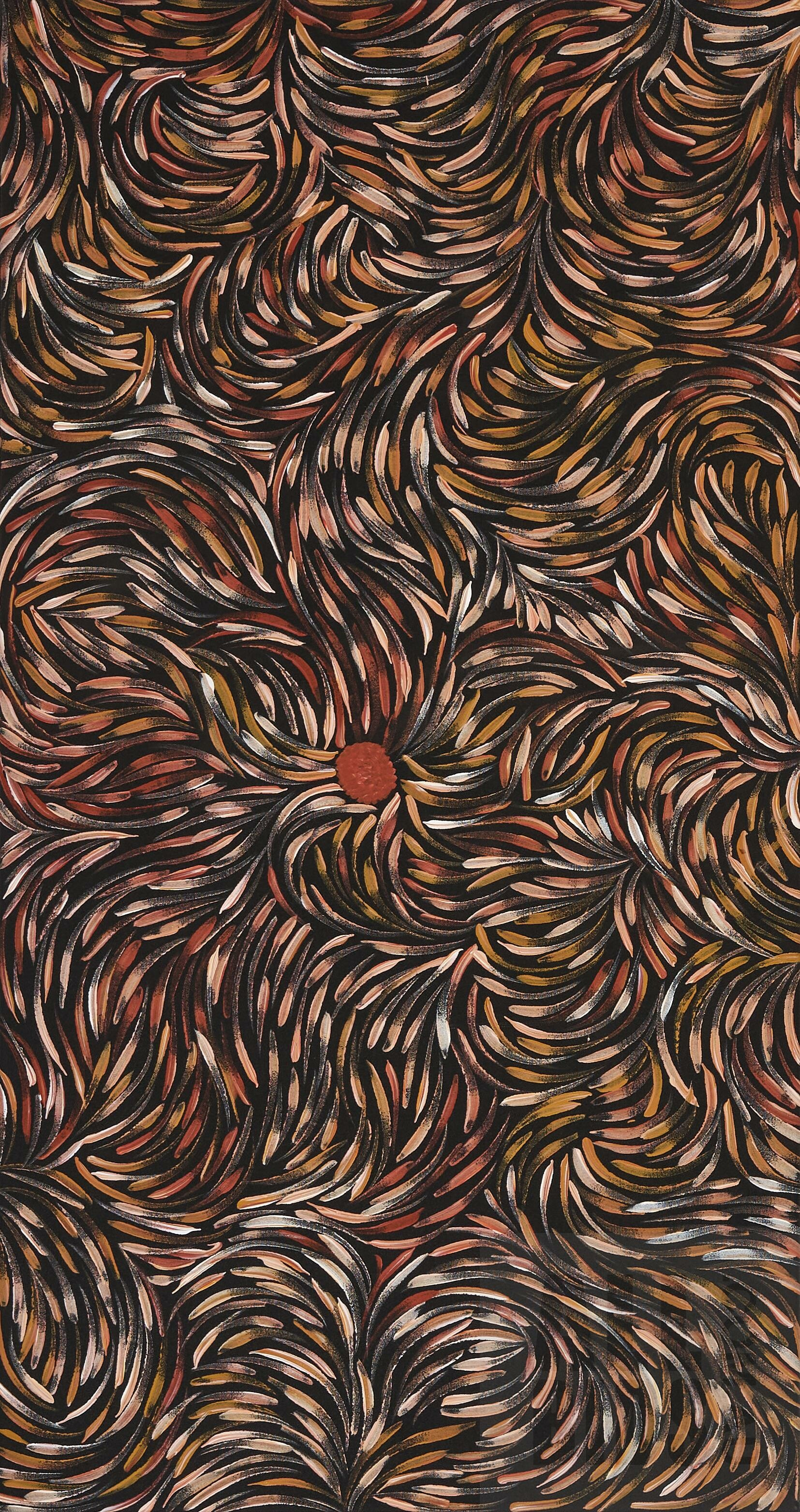'Roseanne Morton Petyarre (born 1984), Bush Medicine Leaves, Acrylic on Canvas, 94 x 50 cm'