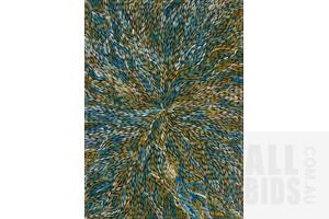 Jeannie (Pitjara) Petyarre (born c1956), Yam Leaf Dreaming, Acrylic on Canvas, 133 x 96 cm