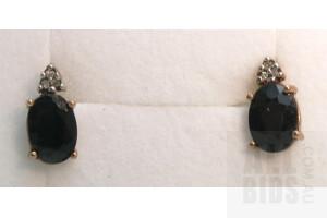 10ct Rose Gold Sapphire & Diamond Earrings