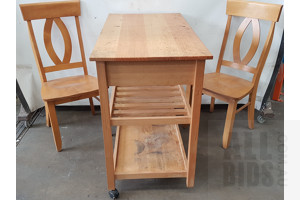 Mobile Kitchen Island Bench And Dining Chairs