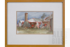 Joan Prince (late 20th Century, Australian), Untitled (Country Cottage), Watercolour, 15 x 25 cm