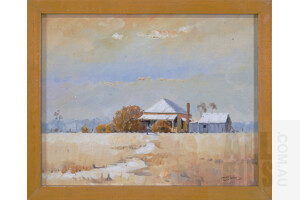 P. Connor, (late 20th Century, Australian), Untitled, (Cottage and Shed), Oil on Canvas on Board, 19.5 x 24.5 cm