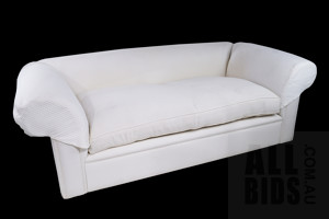 Contemporary 'Beverley Hills' Three Seater Sofa Upholstered in Ivory Tone Warwick Brand Upholstery, Includes Two Matching Cushions