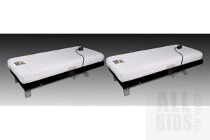 Pair of Hollandia 'Gravity Zero - Ultra' Single Power Massage Beds and Hollandia Ventilated Latex Mattresses (2)